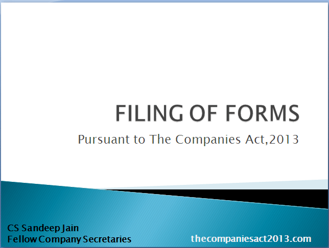 FILING OF FORMS