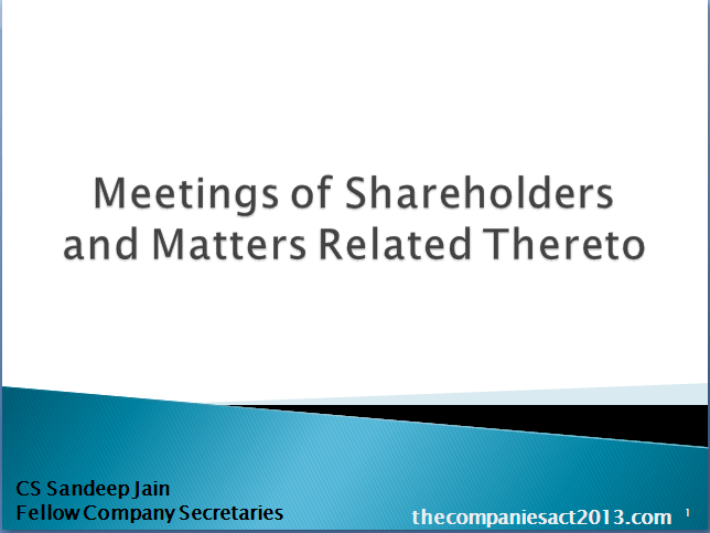 MEETINGS OF SHAREHOLDERS AND MATTERS RELATED THERETO